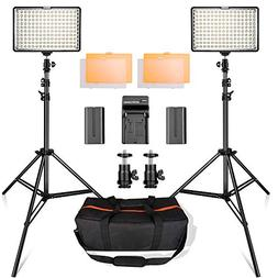 SAMTIAN 160 LED Video Light Kit with 2 Meters Tripod, 3200/5