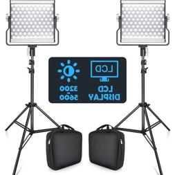 2 X SAMTIAN L4500 Bi-color LED Video Light Camera Studio Lig