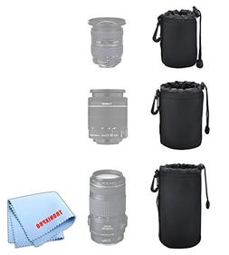 3 Soft Lens Pouches for Digital Camera DSLR Lenses. Small, M