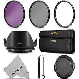 52MM Vivitar UV CPL FLD Professional Lens Filter Kit and Acc
