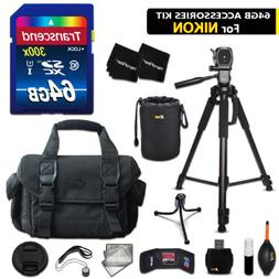 64GB ACCESSORIES Kit for Nikon D3200 w/ 64GB Memory + Large