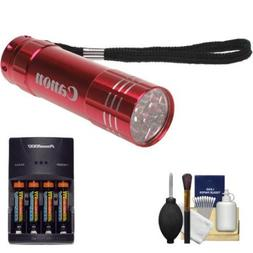 Canon 9 LED Push Button Flashlight  with Batteries & Charger