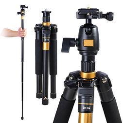 60 Inch Compact Camera Travel Tripod 360 Degree Swivel Ball