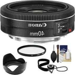 Canon EF 40mm f/2.8 STM Pancake Lens with UV Filter + Hood +