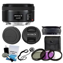 Canon EF 50mm f/1.8 STM Lens For Canon Cameras With 3 Piece