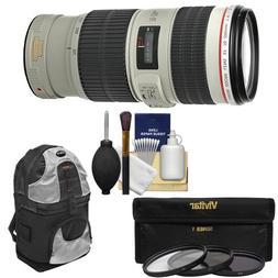 Canon EF 70-200mm f/4L IS USM Zoom Lens with 3 Hoya UV/CPL/N