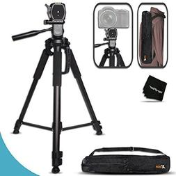 Durable Pro Grade 72 inch Full size Tripod with 3 way Pan-He