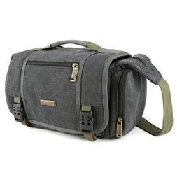Evecase Large Vintage Canvas Messenger SLR Camera case bag w