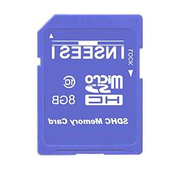 Inseesi SD Card 8GB Class 10 High Speed up 10M/s Flash Memor