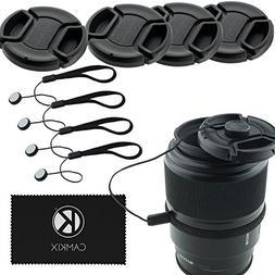 Lens Cap Bundle - 4 Snap-on Lens Covers for DSLR Cameras inc
