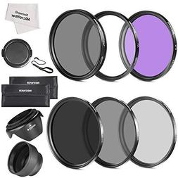 Neewer 52MM Lens Filter Kit:UV, CPL, FLD, ND2, ND4, ND8 and