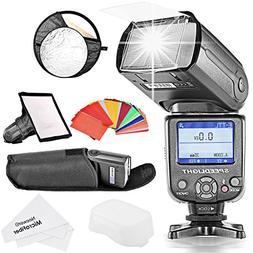 Neewer *COLOR-SCREEN* E-TTL Slave Camera Flash Kit for Canon