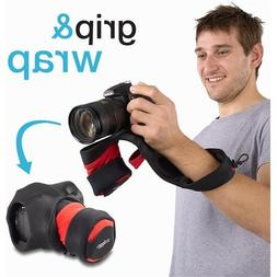 New Wrist Camera Strap For SLR Cameras Red & Black Padded Ca