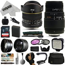 Opteka 6.5mm + 70-300mm Lens Kit with 64GB for Canon EOS Reb