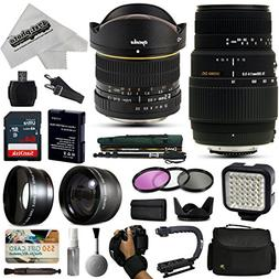 Opteka 6.5mm + 70-300mm Lens Kit with 64GB for Nikon D5500,