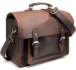 Purple Relic Leather DSLR Camera Bag 15.6-Inch Laptop Briefc
