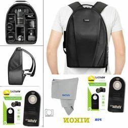 VIVITAR CAMERA BACKPACK BAG + REMOTE FOR NIKON D7000 D7100 D