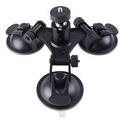 LITFAD Action Camera Accessories Heavy Duty Triple Suction C