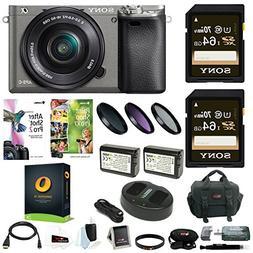 Sony Alpha a6000 Camera w/ 16-50mm Lens, Two 64GB SD Card Bu