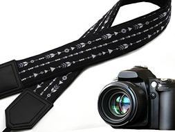 Back and Whire Arrows Camera Strap. Black DSLR/SLR Camera St