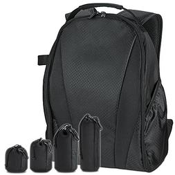 Camera Backpack Bag for DSLR Camera with 4 Pack Lens Pouch S