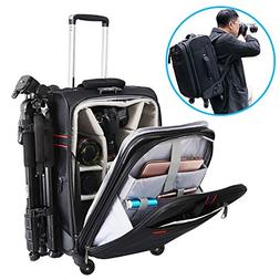 CADeN Camera Backpack Trolley Case with Mute Alloy Axis Spin