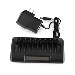 M2cpower 8 Slot/Bay Smart LCD Battery Charger for AA&AAA Ni-