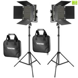 Neewer 2 Pieces Bi-color 660 LED Video Light and Stand Kit I