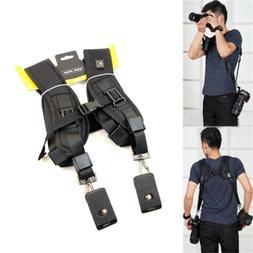 Black Dual Shoulder Quick Release Belt Sling Strap For 2 DSL