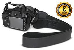 ROMS Black Leather Camera Strap Belt - Shoulder & Neck For C