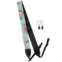 Blue Floral Print Neck Shoulder Belt Strap For Digital SLR C