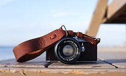 TETHER Brown Leather Wrist Camera Strap for DSLR or SLR came