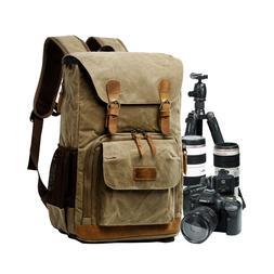 Camera Backpack SLR DSLR Canvas Large Waterproof Anti-shock