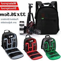 Camera Cam SLR DSLR Photo Video Bag Case Padded Backpack Zip