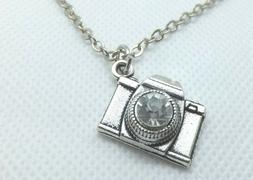 CAMERA CHARM NECKLACE WITH CRYSTAL STONE EXCELLENT GIFT FOR
