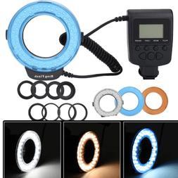 Camera DSLR LED Ring Flash Light Lamp W.3 Color Filter For N