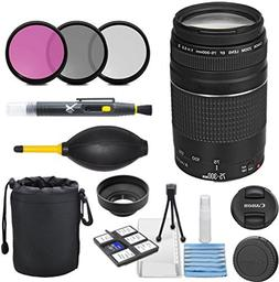 Canon EF 75-300mm f/4-5.6 III Telephoto Zoom Lens Bundle for