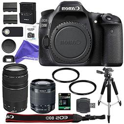 Canon EOS 80D Digital SLR Camera + 18-55mm STM + Canon 75-30