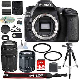 Canon EOS 80D Digital SLR Camera + 18-55mm STM + Canon 75-30