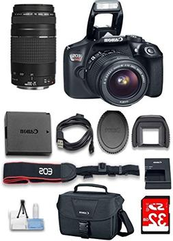 Canon EOS Rebel T6 DSLR Camera w/ 18-55mm & EF 75-300mm Lens