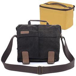 Albott Canvas Messenger Shoulder Bag for DSLR Cameras, Brown