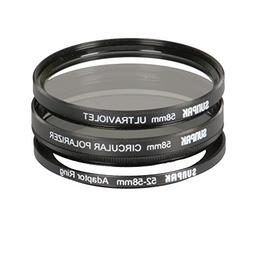 Sunpak CF-5258-TW-MW 52mm and 58mm UV and CPL Filter Kit