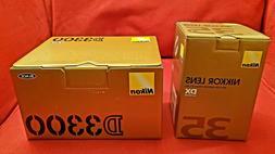 Nikon D3300 DSLR Camera w/ AF-S DX Nikkor 35mm F/1.8G Lens -