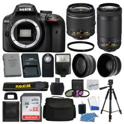 Nikon D3400 Digital SLR Camera 32GB 4 Lens Kit: 18-55mm + 70