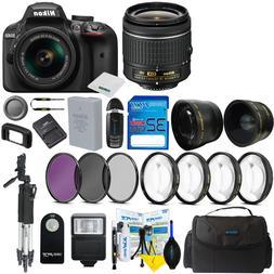 Nikon D3400 Digital SLR Camera Body 3 Lens Kit 18-55mm Lens