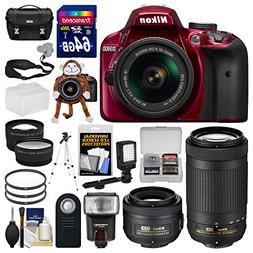 Nikon D3400 Digital SLR Camera  & 18-55mm VR, 70-300mm DX AF
