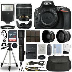 Nikon D5600 DSLR Camera + 4 Lens 18-55mm VR + 500mm + 16GB T