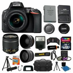 Nikon D5600 Digital SLR Camera 3 Lens Kit 18-55 VR Lens + 32