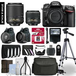 Nikon D7200 SLR Camera 4 Lens Kit 18-55 + 55-200mm VRII + 64