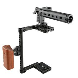 CAMVATE DSLR Camera Cage Top Handle Wood Grip Rig for Canon